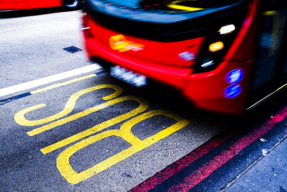 Bus rides in bus lane, London, Great Britain