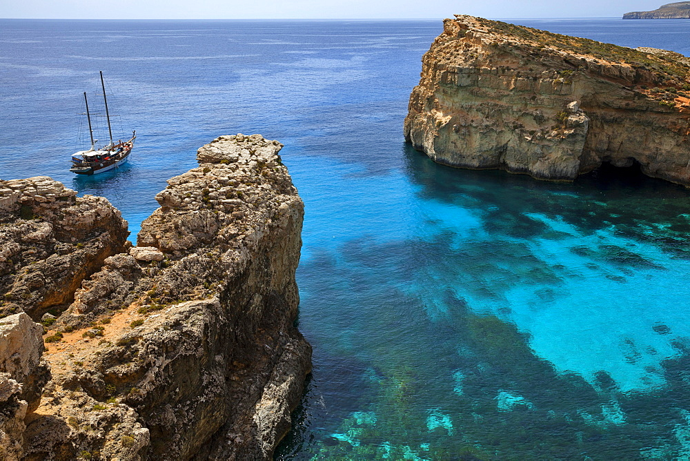 Yacht in the Blue Lagoon, Comino, Malta, Europe