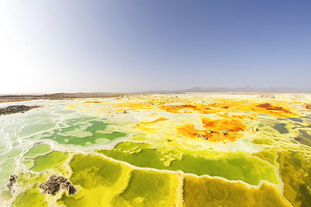 Sulphur sediments in the thermal area of Dallol, Danakil-Senke, Ethiopia, Africa