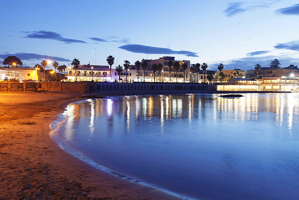 Beach at dusk, Otranto, Province of Lecce, Salentine peninsula, Apulia, Italy, Europe