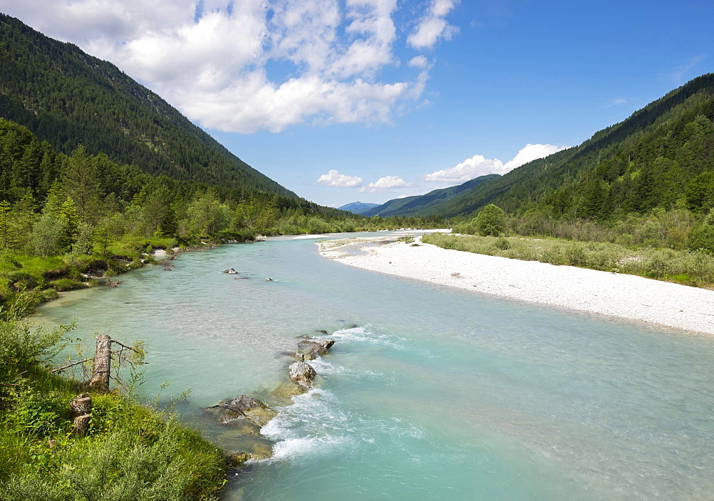 Isar, Vorderriss near Lenggries, Isarwinkel, Upper Bavaria, Bavaria, Germany, Europe