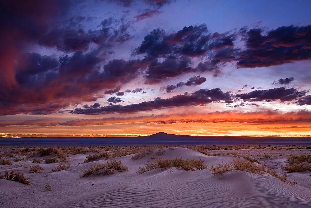 Sunset in the salt desert Salar de Atacama, Sand dune, San Pedro de Atacama, El Loa province, Antofagasta region, Norte Grande, Chile, South America
