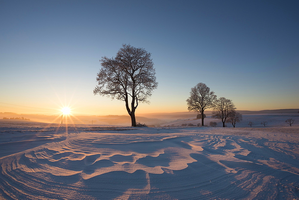 Winter landscape at sunset, Konstanz district, Baden-Württemberg, Germany, Europe