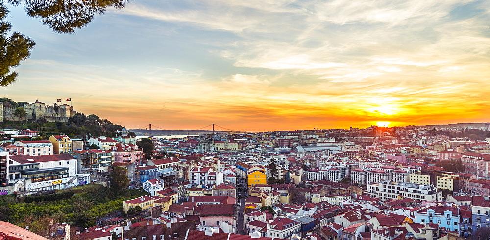 View across Lisbon, Sao Jorge Castle, sunset, Graca viewpoint, Lisbon, Portugal, Europe