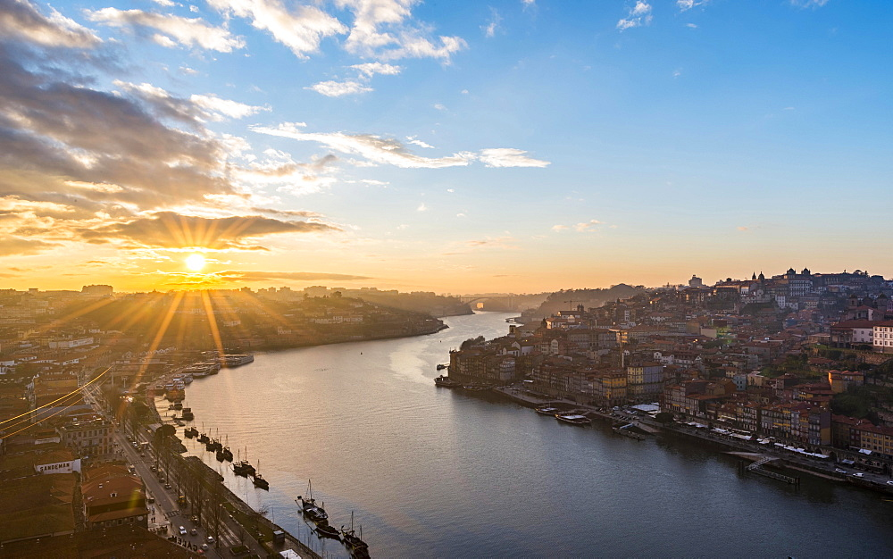 View over Porto with River Douro, sunset, Porto, Portugal, Europe
