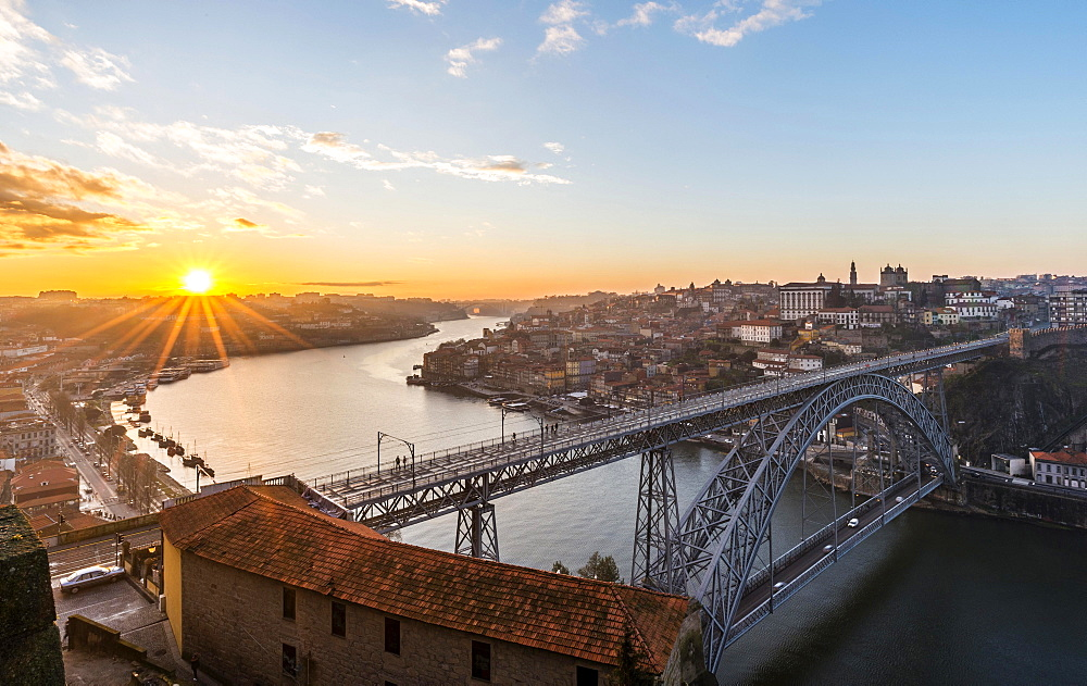 View over Porto with Ponte Dom Luis I Bridge across River Douro, sunset, Porto, Portugal, Europe