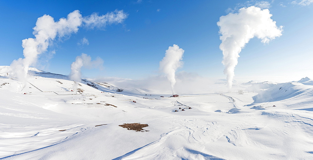 Rising steam, Hverarond, also Hverir or Namaskard, geothermal area, North Iceland, Iceland, Europe