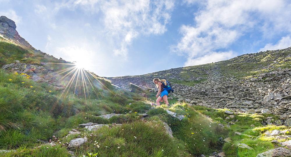 Female hiker on footpath in mountains, sun shines over ridge, ascend Greifenberg, Schladminger Tauern, Styria, Austria, Europe