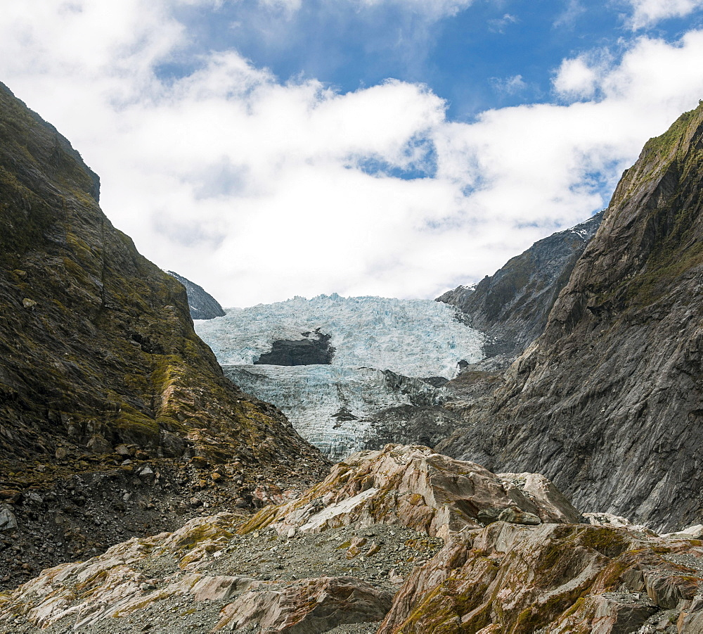 Glacier tongue, Franz Josef Glacier, West Coast, Southland, New Zealand, Oceania
