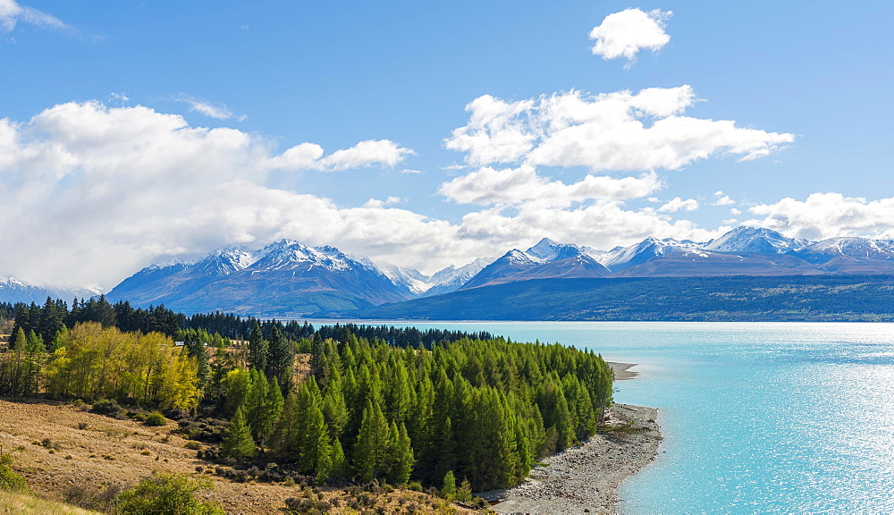 Turquoise water, Lake Pukaki, Ben Ohau Range with snow, Canterbury Region, Southland, New Zealand, Oceania