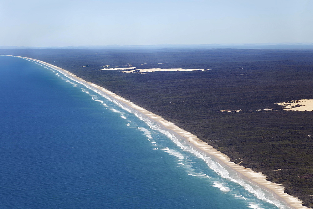 Aerial View, 75 Mile Beach Road, official Highway, UNESCO World Heritage Site, Fraser Island, Great Sandy National Park, Queensland, Australia, Oceania