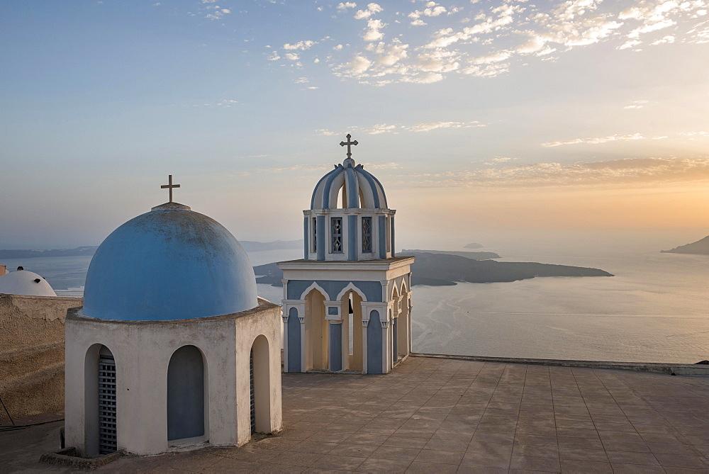 Blue dome and belfry, Firostefani, Santorini, Cyclades, Greece, Europe