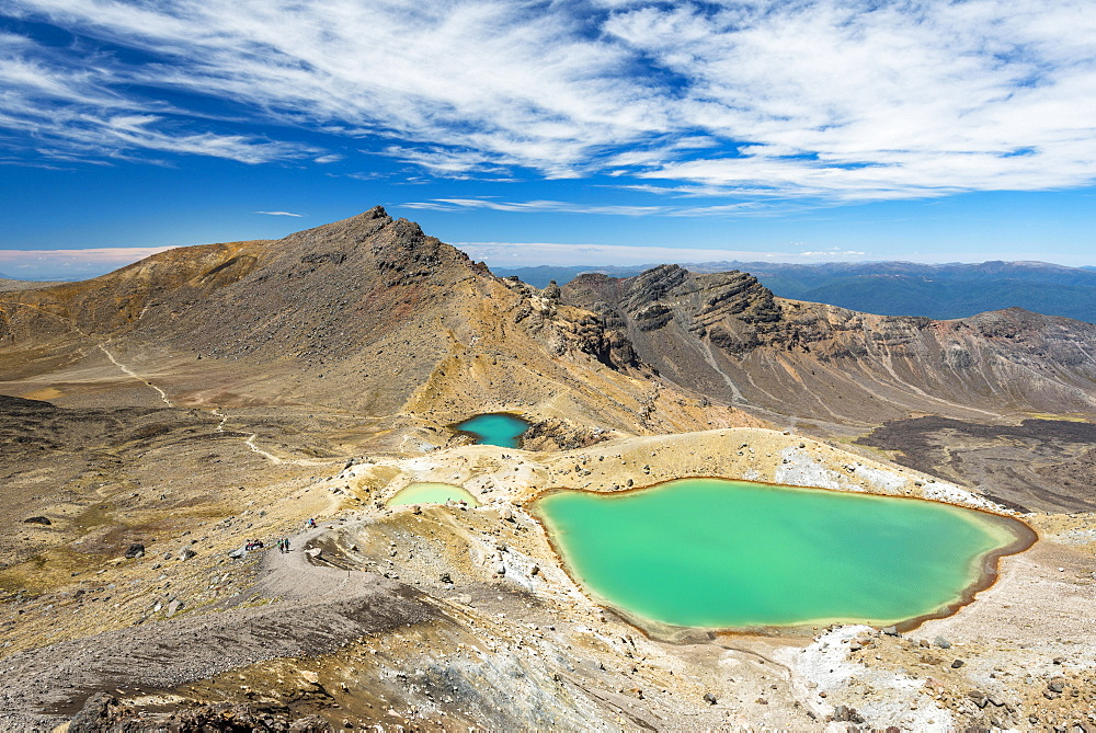 Emerald Lakes, crater lakes, volcanic landscape, Tongariro Alpine Crossing, Tongariro National Park, North Island, New Zealand, Oceania
