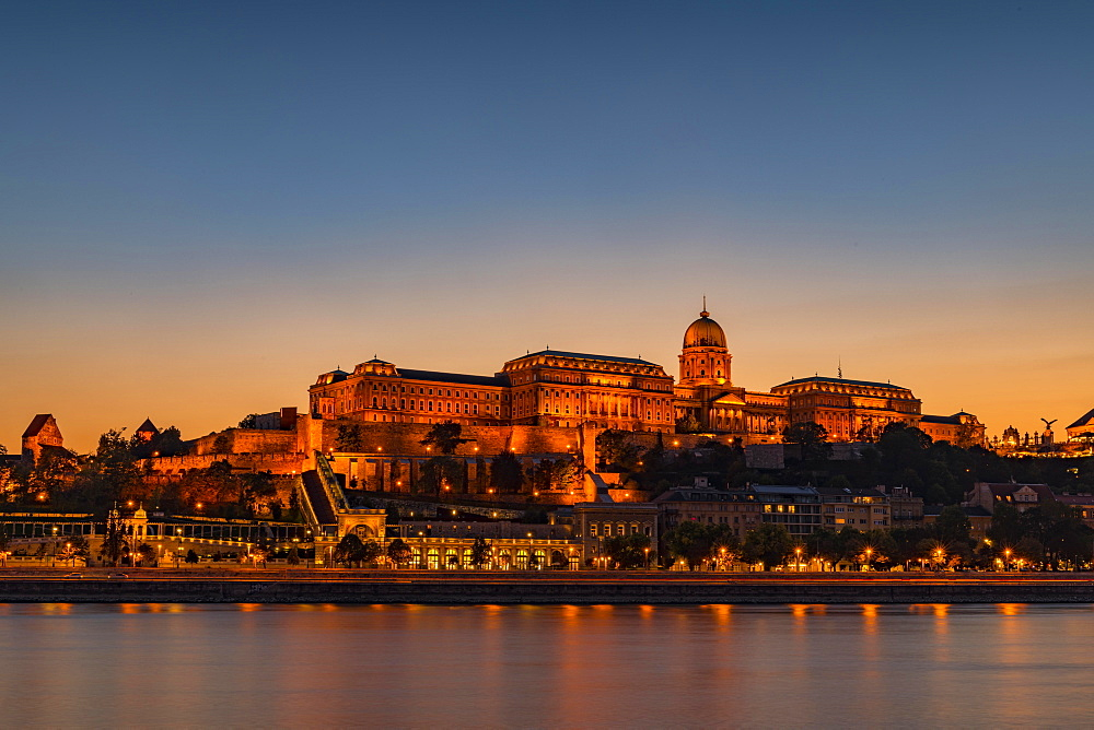 Danube and castle hill with Buda castle, Blue Hour, Budapest, Hungary, Europe