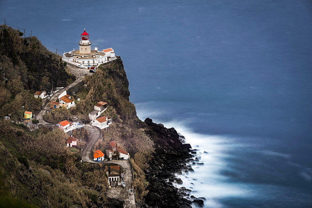 Lighthouse Farol da Ponta do Arnel with sea, Nordeste, Sao Miguel, Azores, Portugal, Europe