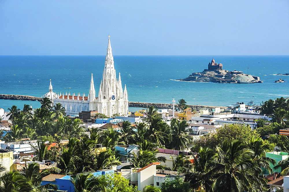 Pilgrimage town Kanyakumari with pilgrimage church Our Lady of Ransom, South India, India, Asia