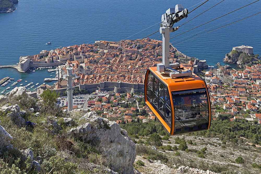View of the old town, cable car, Dubrovnik, Croatia, Europe