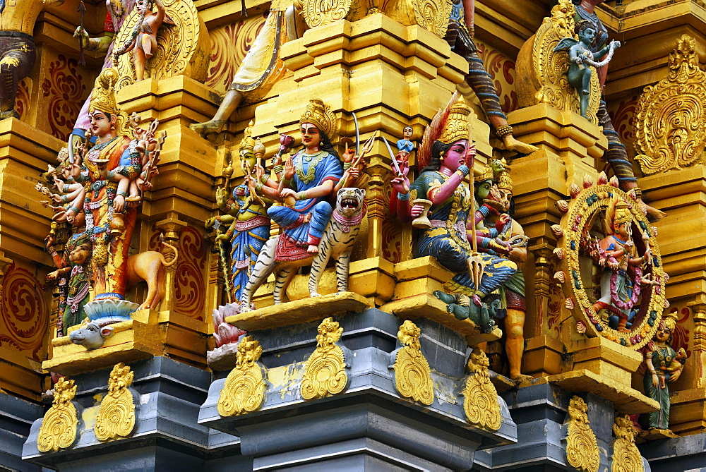 Colorful Hindu temple decorated with figures and gods, Sri Muthumariamman, Matale, Central Province, Sri Lanka, Asia