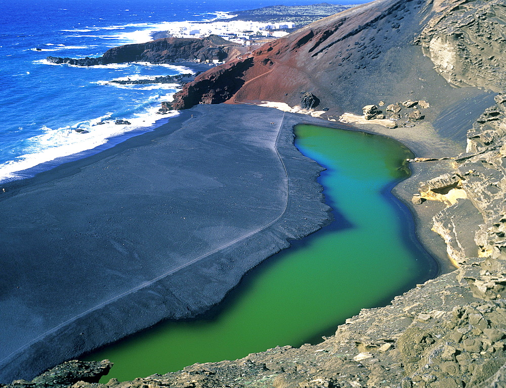 Volcanic beach, Timanfaya National park, Lanzarote, Canary Islands, Spain, Europe