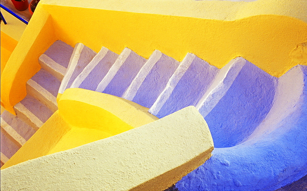 Colorful staircase, Oia, Santorini, Cyclades Islands, Greece, Europe - 832-381002
