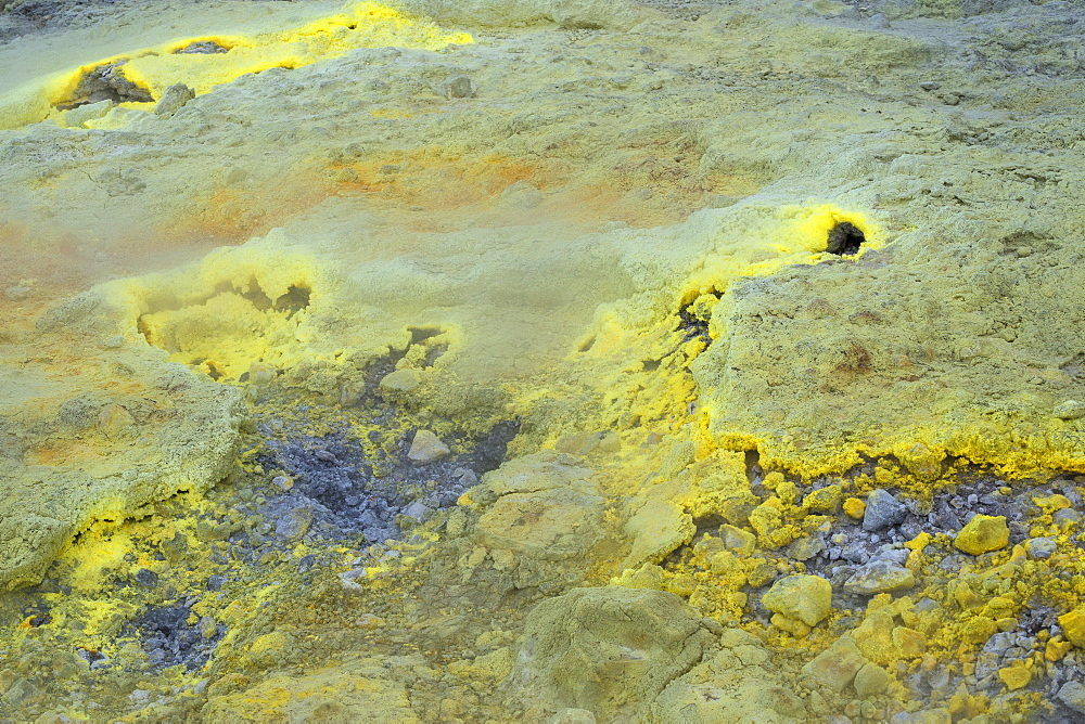 Sulfur vapor, Vulcano Island, Aeolian Islands, Italy, Europe