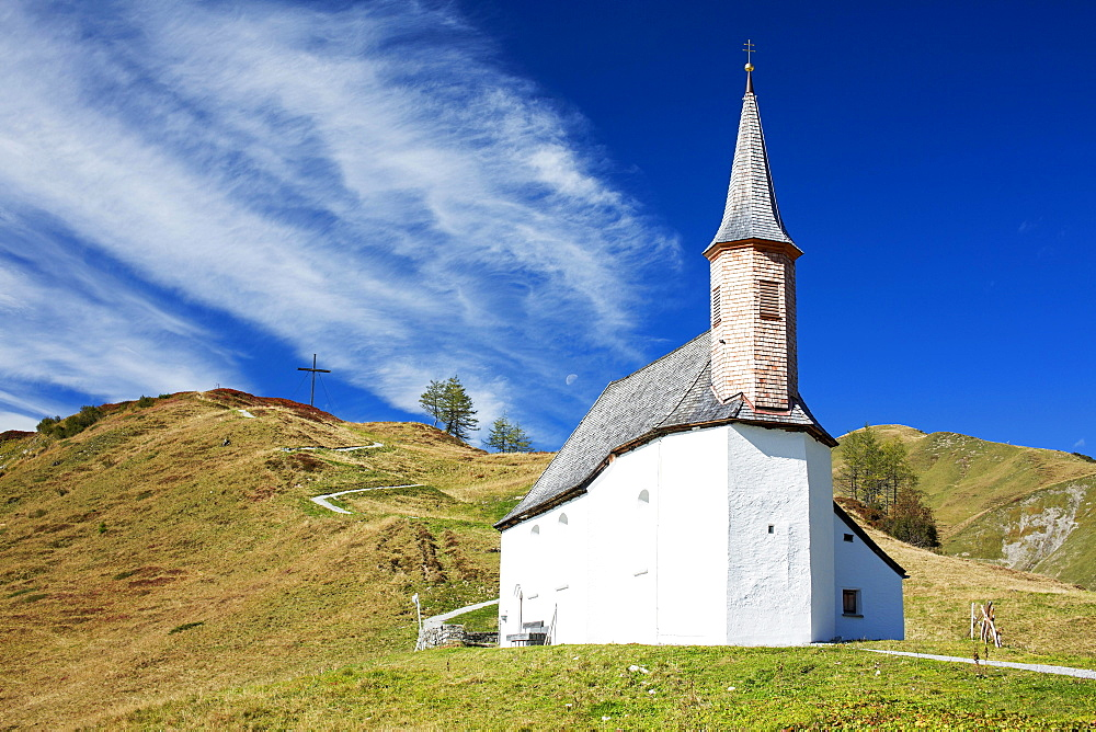 St. Jakob Chapel on Simmel, Hochtannberg Pass, Vorarlberg, Austria, Europe