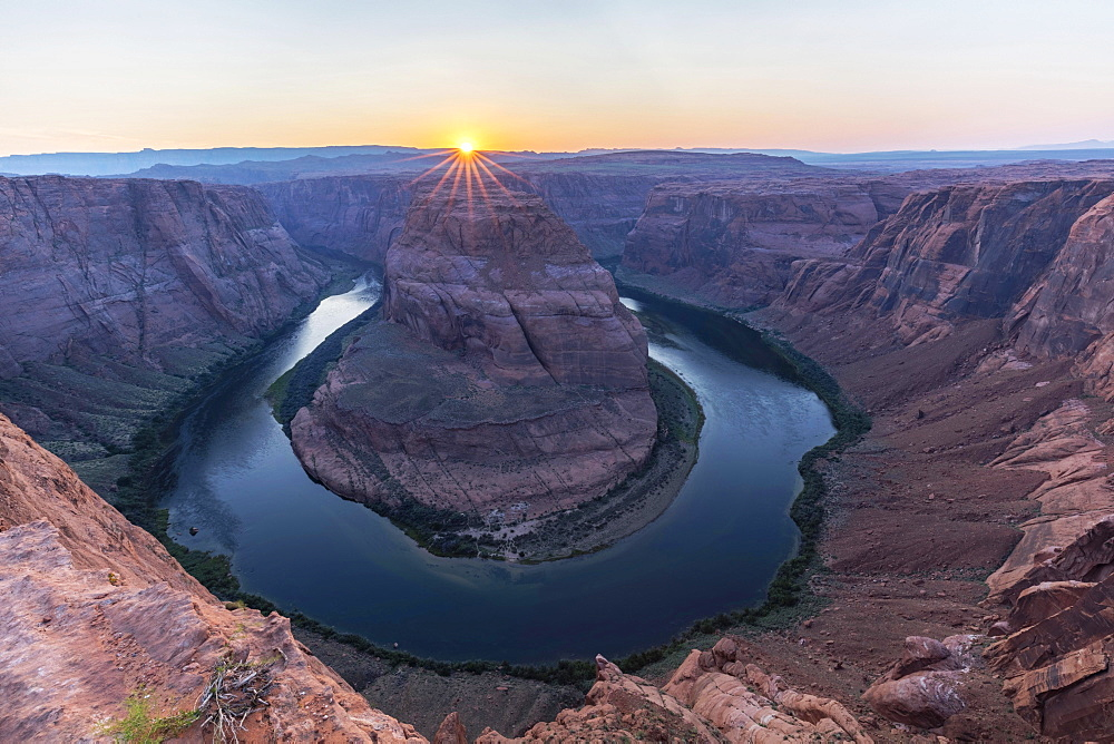 Bend of the Colorado River with Setting Sun, Horseshoe Bend, Page, Arizona, USA, North America
