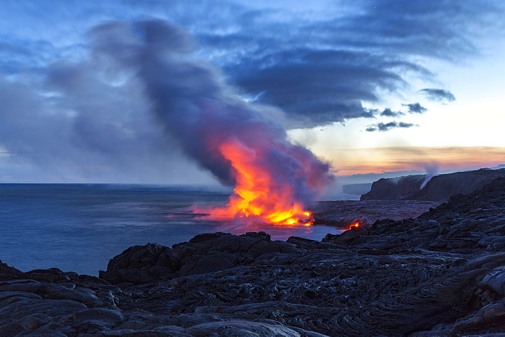 Lava entering ocean, Kalapana, Hawai'i Volcanoes National Park, Big Island, Hawai'i, USA, North America