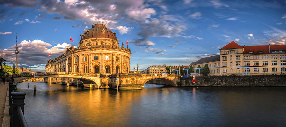 Bode Museum on the River Spree with the old artillery barracks in Berlin, Germany, Europe