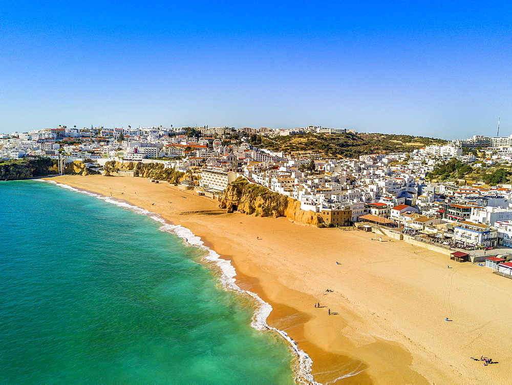 Aerial view of Fishermen Beach, Albufeira, Algarve, Portugal, Europe