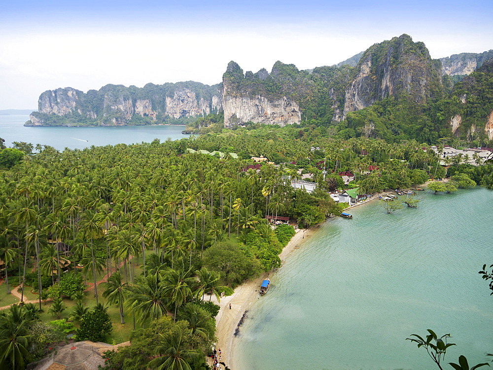 View of palm groves and chalk rock formations with the Hat Rai Leh West and Hat Rai Leh East beaches on the Railey peninsula Rai Leh, Andaman Sea, Krabi province, Thailand, Asia
