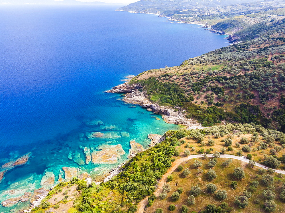Aerial view, Beach and rocky coast of Pelion, Volos region, straits of Trikeri, Greek peninsula Pelion, Pagasitic Gulf, Greece, Europe
