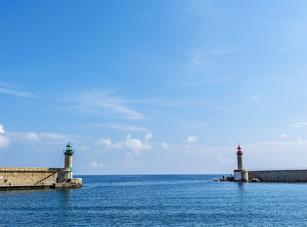 Lighthouses of the old port of Bastia, Corsica, France, Europe