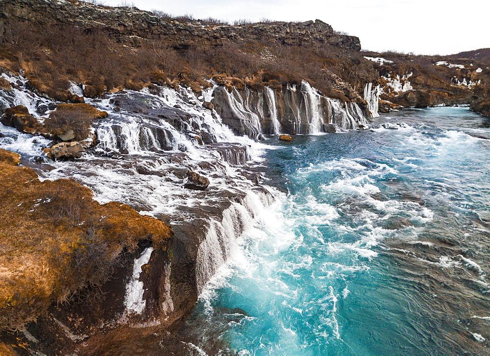Waterfall, Hvita River, Hraunfossar Falls, Western Region, Iceland, Europe
