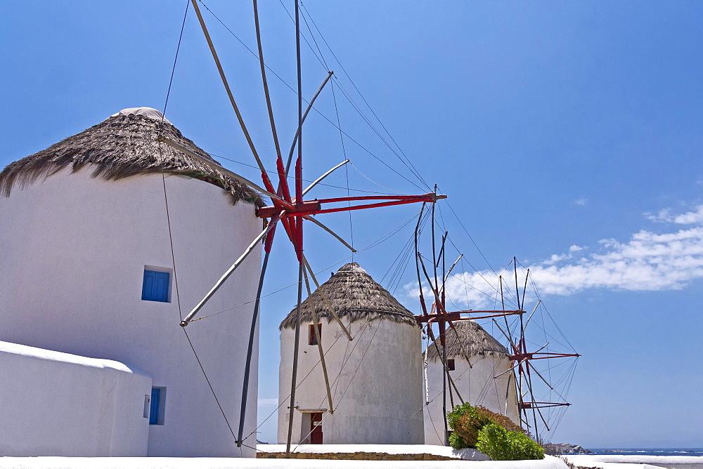 Windmills, Mykonos Town, Mykonos, Cyclades, Greece, Europe