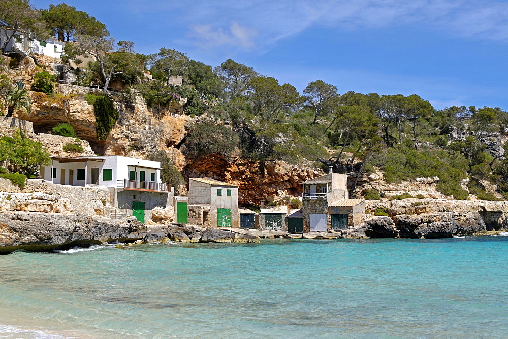 Boathouses, Cala Llombards, Majorca, Balearic Islands, Spain, Europe