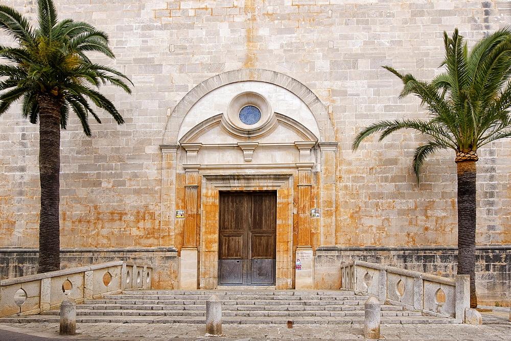 Main entrance of the Church of Sant Andreu, Santanyi, Majorca, Balearic Islands, Spain, Europe
