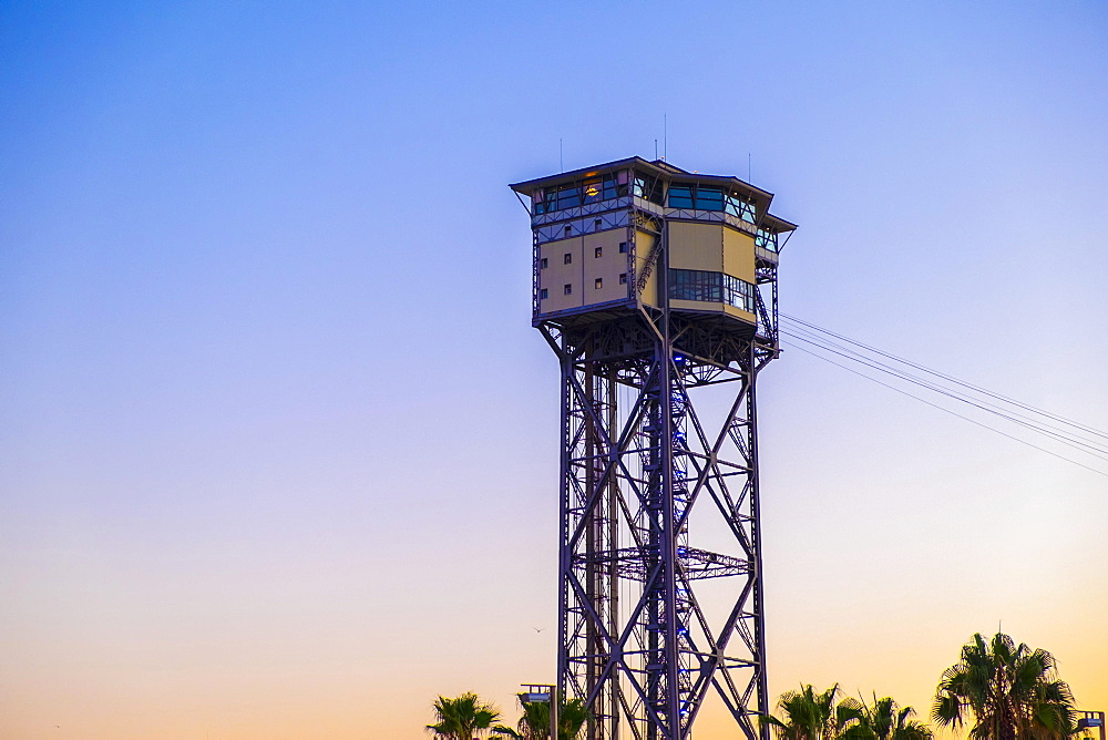 Torre Sant Sebastià of Port Vell Aerial Tramway, Teleférico del puerto Barcelona, Barceloneta, Barcelona, Catalonia, Spain, Europe