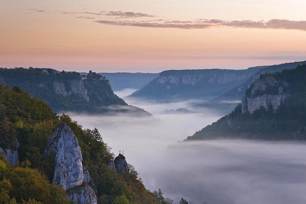 Werenwag Castle above the fog in the morning, Upper Danube Valley, Beuron, Baden-Wurttemberg, Germany, Europe