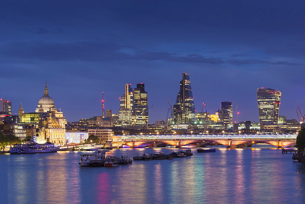 London skyline and the River Thames at night, London, England, United Kingdom, Europe