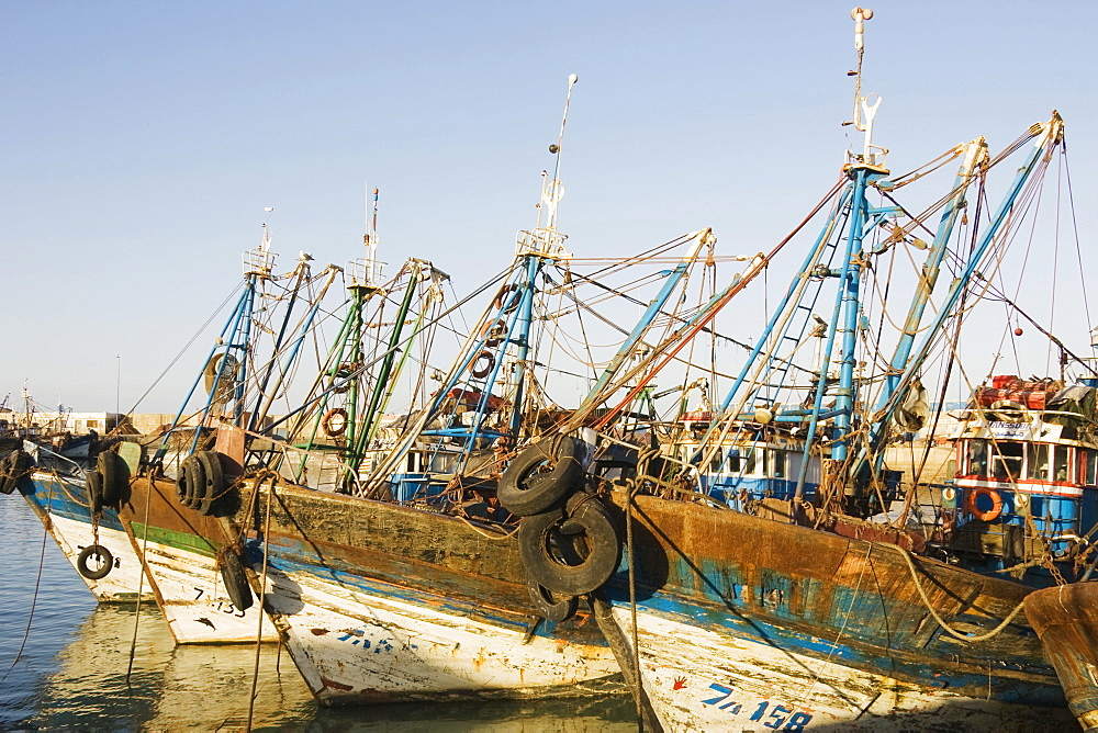 Boats in the fishing harbour of Essaouira, Morocco, Africa