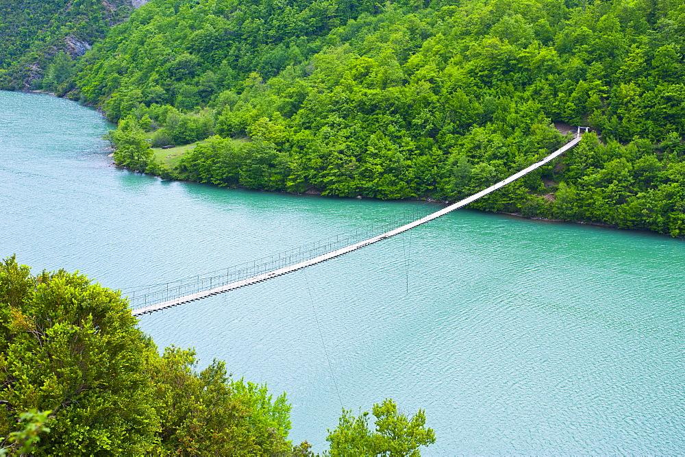 Suspension bridge across the Black Drin River, Albania, Europe