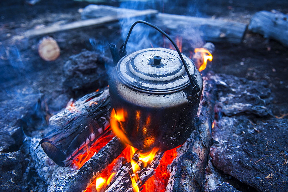 Boiling water pot over an open fire, Kamchatka, Russia, Europe