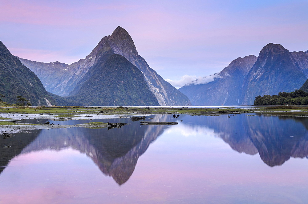 Mitre Peak at dawn, Fiordland National Park, Milford Sound, South Island, New Zealand, Oceania