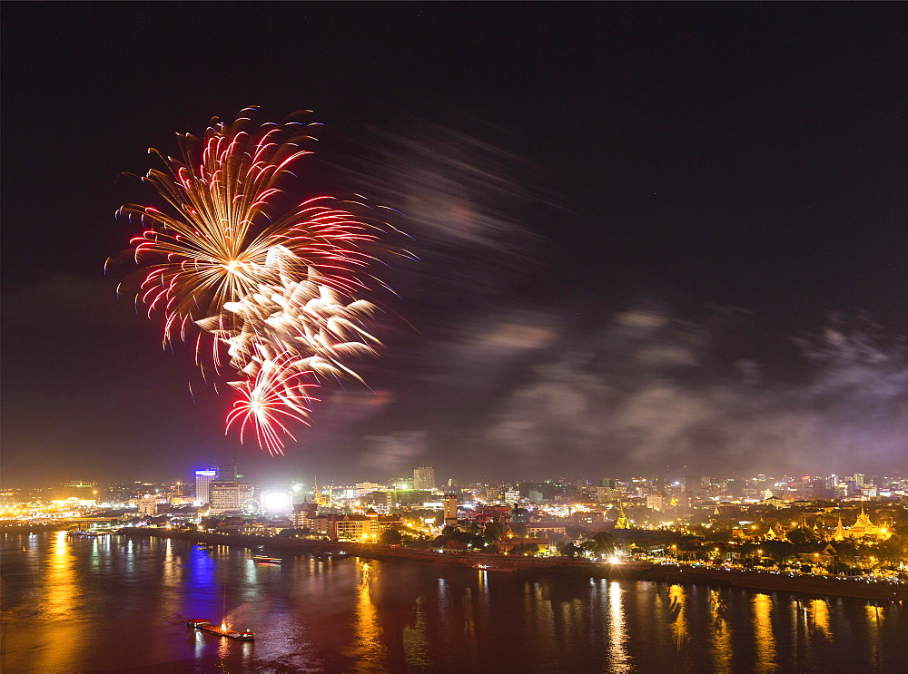 Fireworks over Tonlé Sap and Mekong, city view, Phnom Penh, Cambodia, Asia