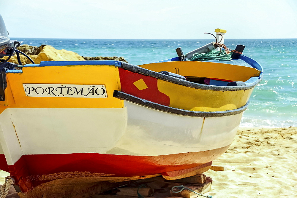 Fishing boat on the beach, Portimao, Portugal, Europe