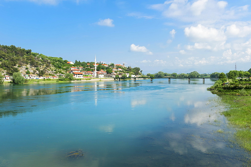 View over Shkodra city and Bojana river, Shkodra, Albania, Europe