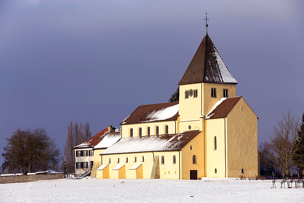 Church of St. George in winter, UNESCO World Heritage Site, Obernzell, Reichenau island, Baden-Württemberg, Germany, Europe