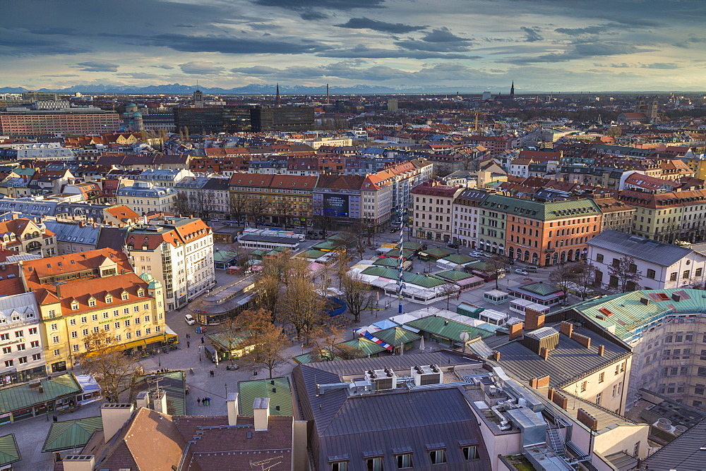 View of Viktualienmarkt and historic centre, downtown, the Alps behind, Munich, Upper Bavaria, Bavaria, Germany, Europe