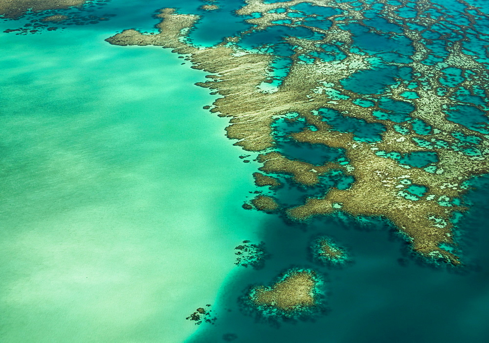 Aerial view, coral reef, Grande Terre Island, New Caledonia, Oceania